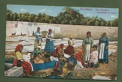 Palermo Sicily Italy Women Washing Clothes Holding Babies Postcard