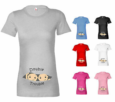 Womens Double Trouble Twins  Maternity T-Shirt Pregnancy T Shirt Gift