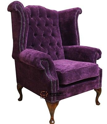 Chesterfield Armchair Queen Anne High Back Wing Chair Amethyst Purple Fabric
