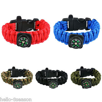 Multi-Purpose Outdoor Camping Hiking Survival Compass Paracord Bracelet