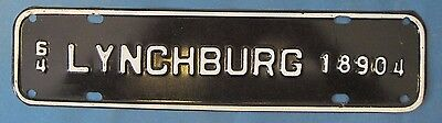 1964 Lynchburg Virginia license plate never used excellent