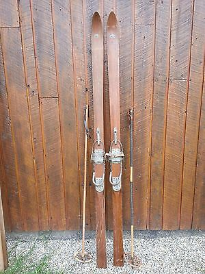"VINTAGE PATINA Skis 80"" Long with Metal Bindings and OLD Bamboo Poles"