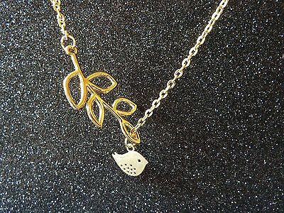 Pretty Necklace,Bird & Branch Design,Silver/Gold, Tree, Leaves,Christmas Gift