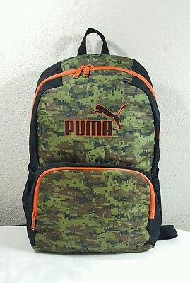 Puma Derby Backpack School Travel Laptop Gym Bag Orange/black/green Nwt