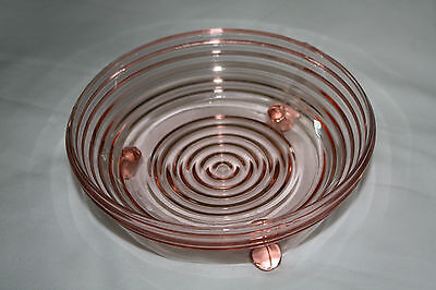 Pink Depression Glass (3) Soup, Salad Dessert Bowls