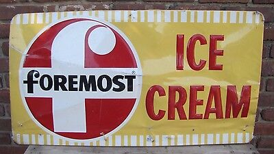 Orig Foremost Ice Cream Sign embossed ice cream parlour advert M-H Sign Co Phila