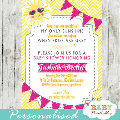 graphic relating to You Are My Sunshine Printable referred to as Oneself ARE MY Solar Child Shower Invitation for Women of all ages - Printable Electronic Report