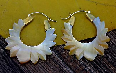 SILVER WIRE Earrings ,Tribal Style,  GOLDEN  Shell ,.925 WIRE Gold Wing Feather