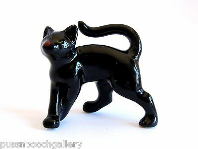 Miniature Ceramic Hand Painted Black Cat - Arched/Playing Figurine