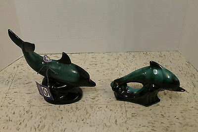 Two Blue Mountain Pottery Dolphins Green Glaze!