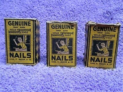 3 Boxes Vintage Genuine Hold Fast 16 Nails 5 - 8  (1) Box is Full