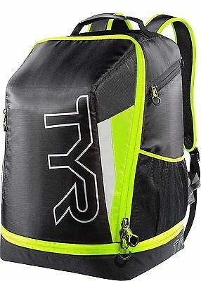 TYR Apex Transition Backpack Triathlon/Swimming Pack-Tri Ready Black Lime 02UK