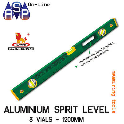 Wynn's Aluminium Spirit Level 1200Mm 3 Vials With Measure Ruler - W0091G