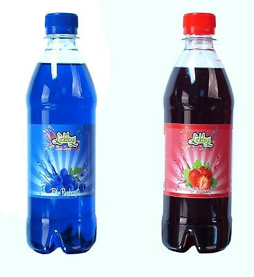 Blue Rasberry & Strawberry Slush Syrup 500ml Twin Pack with Free Snow Cone Cups