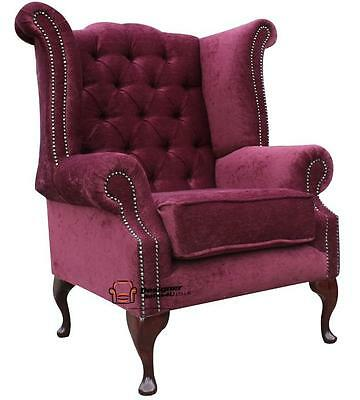 Chesterfield Queen Anne High Back Wing Chair Pimlico Damson Fabric