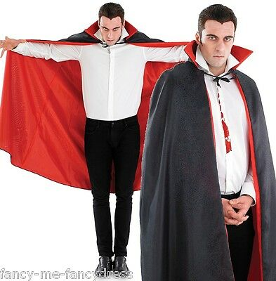 Mens Long Black Vampire Halloween Cape Cloak Fancy Dress Costume Outfit