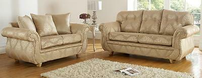 Claremont 3+2 Seater Fabric Sofa Suite Settee Gino Gold Fabric