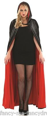 Ladies Long Black Hooded Velvet Vampire Halloween Cape Cloak Fancy Dress Costume