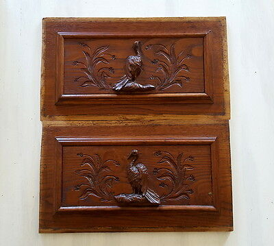 2 VINTAGE FRENCH HAND CARVED WOOD PEDIMENT PANEL Salvaged furniture carving BIRD