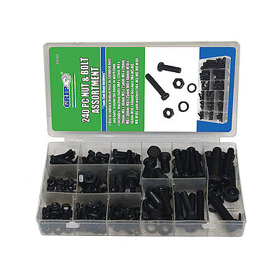 Nut & Bolt Assortment 240pc MM Metric Machine Screws Nuts and Bolts FREE SHIP