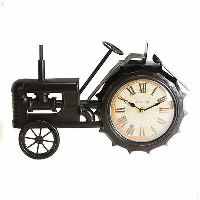 New Black Vintage Tractor Metal Wall or Mantel Clock Distressed look