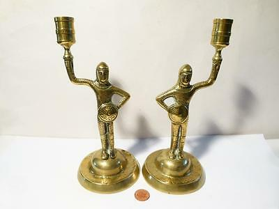 Rare Antique 19thC MEDIEVAL Revival KNIGHTS Unusual Pair Brass Candlesticks • CAD $486.01