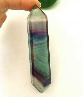 127g Natural purple/green fluorite quartz crystal DT wand healing A474