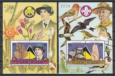 """ St. Lucia, 823-824 B. Scout Anniversary, Birds & Flowers, Numbered s/sheets."