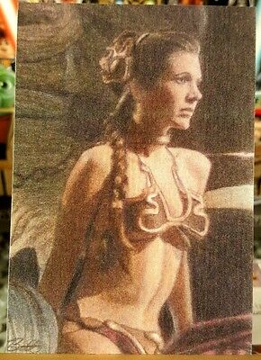 Star Wars Jedi Jabba Slave Leia Sketch Card Signed #1/25 Eric Bell Art Aceo