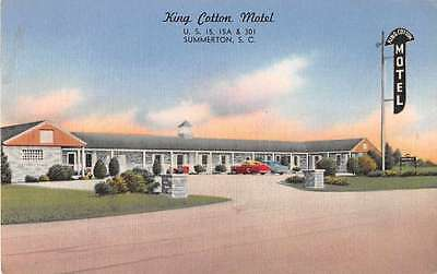 Summerton South Carolina King Cotton Motel Antique Postcard J53011