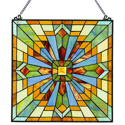 """18"""" Mission Style Stained Glass Clouds In The Sky Window / Wall Panel #15525"""