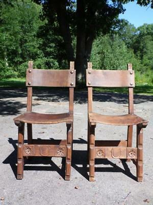 Pair Antique Spanish Colonial Primitive Rustic Gothic Wood Dining Chairs Spain