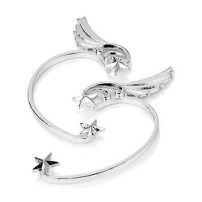 Earring-silver cuffS-hook wings star-Gothic ALTERNATIVE punk-fancy dress 17 cm