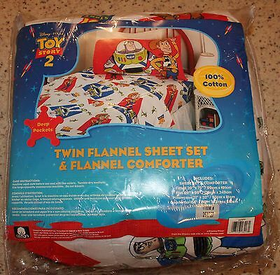 Toy Story Rare Twin Flannel Sheet Set & Flannel Comforter!