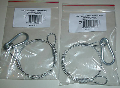 2x SAFETY BOND CABLE GALVANISED STEEL WIRE Disco DJ ligthing effects 600mm x 2mm