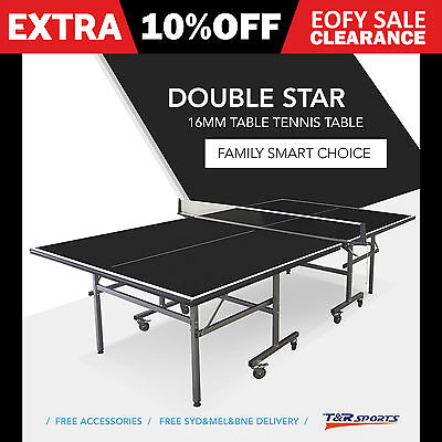 16Mm Pro Size Black Top Double Star Ping Pong Table Tennis Table Free Gift Pack