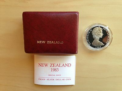1983 New Zealand proof silver dollar coin