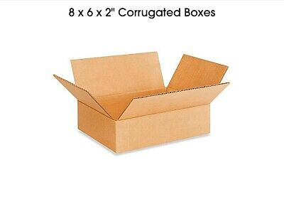 100 NEW 8 x 6 x 2 Corrugated Packing/Shipping Boxes free shipping