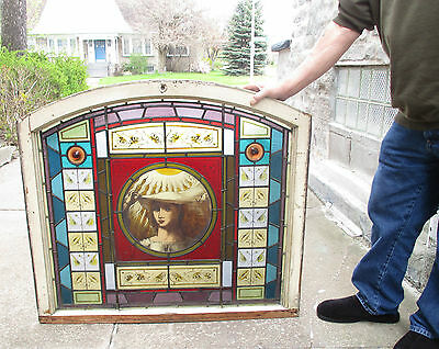 Wonderful Antique Late 19th Century Fair Maiden Stained Glass & Painted Window