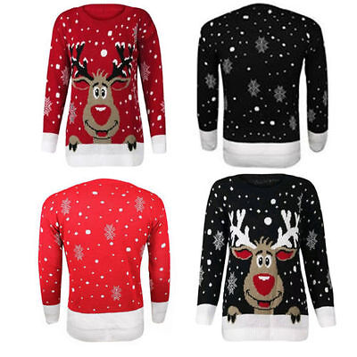 women kids reindeer snowflakes Christmas long sleeve knitted  jumper sweater