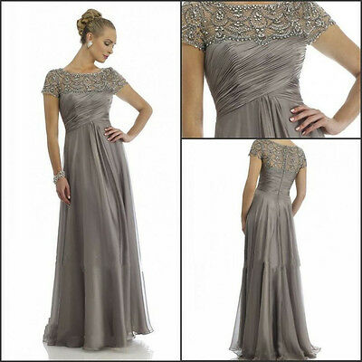 A-Line Mother of the Bride Dress With Short Sleeves Beading Evening Party W1681