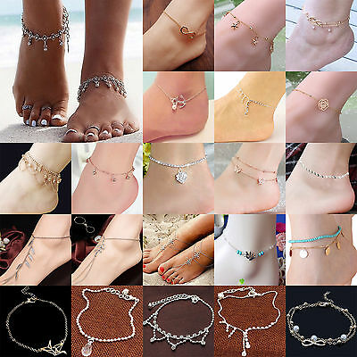 Newest Women Anklet Silver Gold Charm Ankle Chain Bracelet Foot Sandal Jewelry