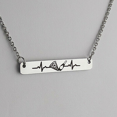 Engraved Pizza and Champagne Heartbeat Bar Necklace - Stainless Steel - Love NEW