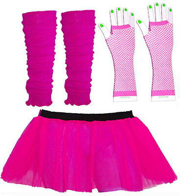 Ladies Neon Tutu Skirt Legwarmers Fishnet Gloves Race For Life Fancy Dress