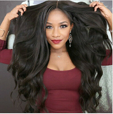 Women's Heat Resistant Lace Front Wig Synthetic Wavy Black Curly Hair Wigs Hot