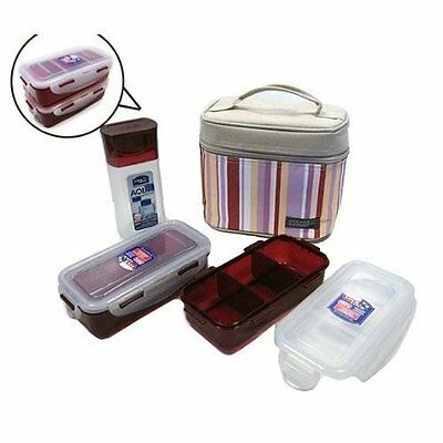 Lunch Box Set Bento with 2 Containers Bottle Insulated Bag Pink
