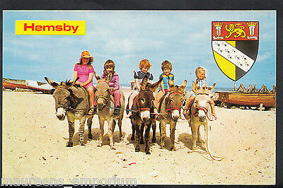 Norfolk Postcard - Children Riding Donkeys at Hemsby    MB2032