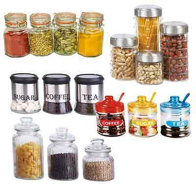 3Pc 4Pc Canister Set Stainless Steel Coffee Tea Sugar Glass Jar Lid Storage Jars