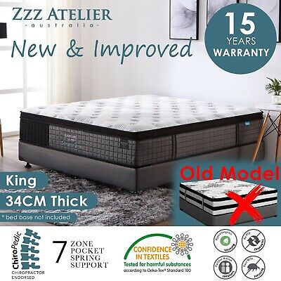 New KING Mattress - 5 Zone Pocket Spring Bed - Latex Euro Top *Chiro Endorsed