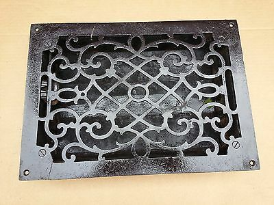 Vintage VICTORIAN Cast Iron Floor Grille 12x8 Heat Grate Register + Louvers